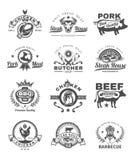 Placez le gril et le barbecue badges, des autocollants, emblèmes illustration libre de droits