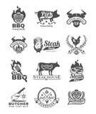 Placez le gril et le barbecue badges, des autocollants, emblèmes Images stock