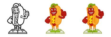 Placez le hot-dog de personnage de dessin animé Photo stock