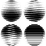 Placez le logo de cercle avec des lignes conception peu commune d'icône, la forme géométrique de rayures horizontales de vecteur, Photo libre de droits