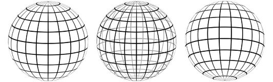 Placez le méridien et le parallèle de globe du graticule 3d, les lignes de champ sur le méridien extérieur et parallèle, graticul illustration stock