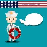 Placez le marin des Etats-Unis de caractère d'hommes Images libres de droits