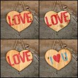 Placez le message d'amour de valentines de collage le coeur qu'en bois se connecte rugueux Photographie stock