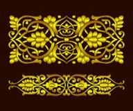 Placez le modèle d'usine de ruban d'or dans le style national ethnique de l'Ouzbékistan, Asie Illustration de vecteur illustration de vecteur