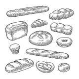 Placez le pain Gravure noire de vintage de vecteur Image libre de droits