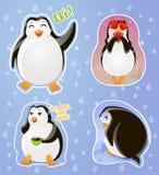 Placez le pingouin d'autocollants d'émotions : saluant, dans l'amour, sceptique, irrité Photographie stock libre de droits