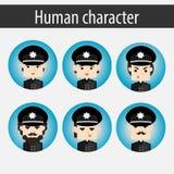 Placez le policier européen de caractère d'hommes Photographie stock libre de droits