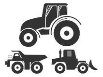 placez le tracteur d'icônes du transport Photos libres de droits