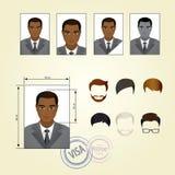 Placez le visage, costumes, habillement, coiffures illustration stock