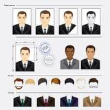 Placez le visage, costumes, habillement, coiffures illustration de vecteur