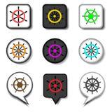 Placez le volant de symboles du bateau pour le voyage Photo libre de droits