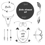 Placez les éléments d'isolement de conception Style de Boho illustration stock
