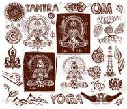 Placez les éléments de yoga de vecteur Photos libres de droits