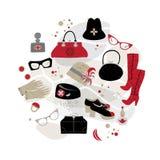 Placez les accessoires de mode de cru, chapeaux de cru, verres, bottes, parfum, sacs illustration stock