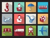 Placez les affaires plates de cargaison d'icônes de conception de couleur Photos libres de droits