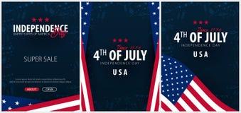 Placez les affiches du quatrième de juillet le 4ème juillet Jour de la Déclaration d'Indépendance des Etats-Unis Illustration de  illustration stock