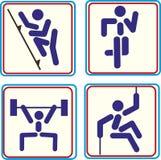 Placez les affiches pour des championnats de sports et concertez des icônes de vecteur pour des projets numériques et d'impressio Images libres de droits