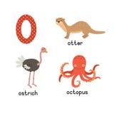 Placez les animaux avec la lettre o Loutre, autruche, poulpe Illustration de vecteur illustration libre de droits