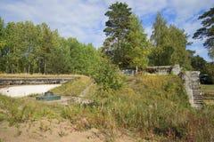Placez les armes à feu de 10 pouces (245-millimètre) Fort Krasnaya Gorka (Alexeevsky), région de Léningrad images libres de droits