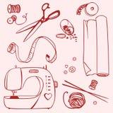 Placez les articles pour la couture et les métiers Photos libres de droits