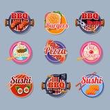 Placez les autocollants de la nourriture Image stock
