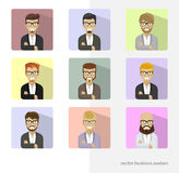 Placez les avatars d'affaires, icônes plates de photos de profil Barbes à la mode, verres Image libre de droits