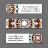 Placez les bannières horizontales de vecteur avec le mandala coloré La collection nationale d'en-têtes pour le site L'Islam, arab Photographie stock libre de droits
