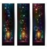 Placez les bannières légères avec la lanterne arabe Image libre de droits