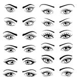 Placez les beaux yeux femelles ouverts d'isolement sur le fond blanc Photographie stock
