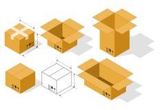Placez les boîtes isométriques illustration libre de droits
