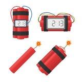 Placez les bombes de dynamite que l'explosion avec la minuterie détonent, câblent, en brûlant la mèche Photos stock