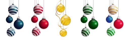 Placez les boules d'isolement de Noël Conception colorée d'élément de babioles Vecteur Images stock