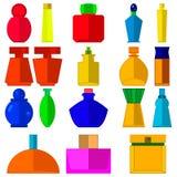 Placez les bouteilles de parfum colorées pour la femme Photo stock