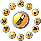 Placez les boutons - 115_C. Téléphones Photo stock