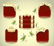 Placez les boutons ou encadrez le decoratio en bois et d'or de forme Photographie stock libre de droits