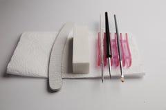 Placez les brosses d'art de clou sur le fond en bois clair Image libre de droits