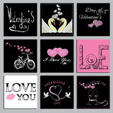 Placez les cartes de valentines Photos stock