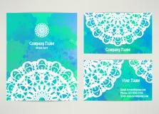 Placez les cartes de visite professionnelle de visite avec le mandala Image libre de droits