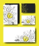 Placez les cartes faites main avec la décoration florale Photos libres de droits