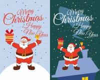 Placez les cartes Santa Claus se tenant dans les cadeaux de neige sur le toit et montrant des cadeaux Noël heureux et nouvelle an illustration libre de droits