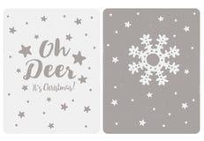 Placez les cartes simples mignonnes de vecteur de Noël d'OS 2 Oh des cerfs communs c'est Noël illustration de vecteur