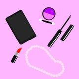 Placez les cosmétiques et les accessoires des femmes Images stock