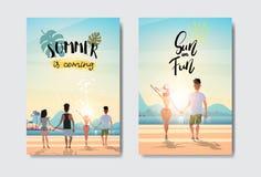 Placez les couples de femme d'homme tenant des mains regardant le label de conception d'insigne de plage de vacances d'été de vue illustration de vecteur