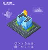 Placez les diagrammes isométriques d'icônes de bâtiment d'affaires Photographie stock libre de droits
