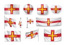 Placez les drapeaux de Guernesey, bannières, bannières, symboles, icône plate Photographie stock