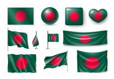 Placez les drapeaux du Bangladesh, bannières, bannières, symboles, icône plate Illustration Stock