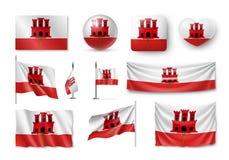 Placez les drapeaux du Gibraltar, bannières, bannières, symboles, icône plate Photo stock