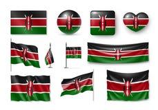 Placez les drapeaux du Kenya, bannières, bannières, symboles, icône réaliste Photo stock
