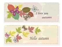 Placez les feuilles d'automne d'esprits de bannières Photo stock
