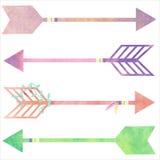 Placez les flèches d'aquarelle dans le style de boho Images libres de droits
